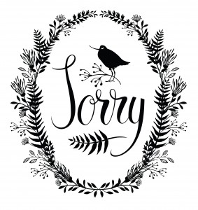 Sorry card with floral vignette and bird